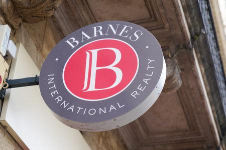 Bordeaux , Aquitaine  France - 10 17 2019 : BARNES International Realty estate logo shop agencies sign store