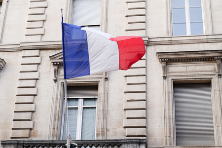 french flag city hall in bordeaux town France Redactioneel