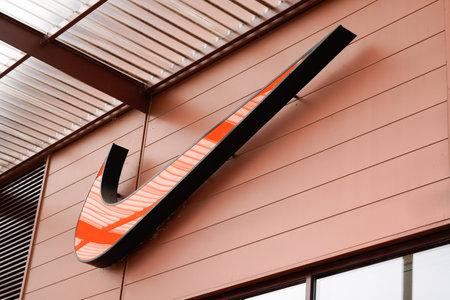Bordeaux , Aquitaine / France - 10 16 2019 : Nike logo Store shop front sign orange