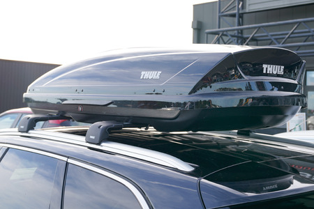 Bordeaux , Aquitaine / France - 10 27 2019 : Thule car displays carriers cargo baskets rooftop