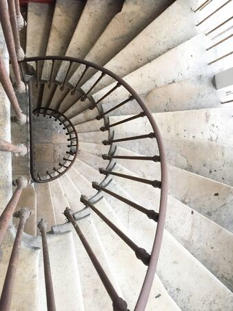 white circular staircase spiral stairs in old house Stok Fotoğraf