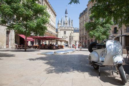 Bordeaux , Aquitaine  France - 11 07 2019 : Bordeaux Place du Palais with vintage scooter post card