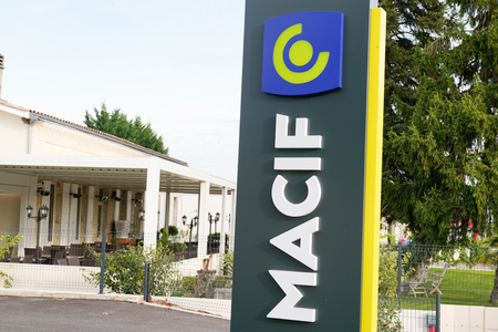Bordeaux , Aquitaine  France - 10 30 2019 : Macif office logo local store agency French sign mutual insurance bank company shop