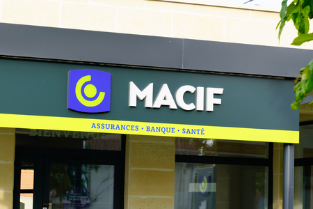 Bordeaux , Aquitaine  France - 10 30 2019 : Macif Assurances store sign logo office agency French mutual insurance and bank shop