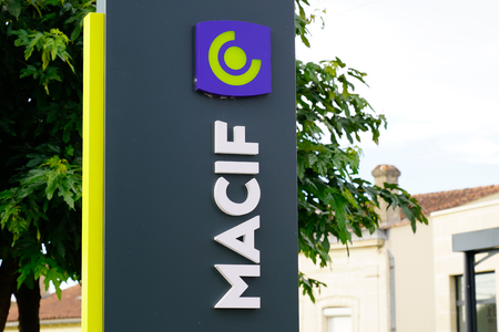 Bordeaux , Aquitaine  France - 10 28 2019 : Macif Assurances logo sign agency store French mutual insurance and bank shop