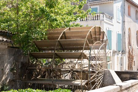 L'Isle-sur-la-Sorgue Vaucluse canal wooden wheel of old water mill Provence France