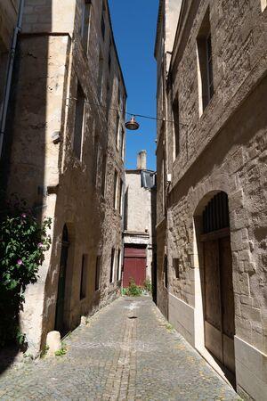 Pedestrian Street alley in old City center Bordeaux France