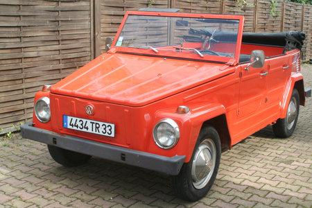 Bordeaux , Aquitaine / France - 11 18 2019 : Volkswagen Type 181 orange car vintage thing Safari