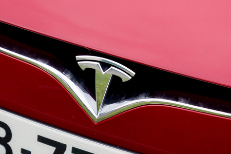 Bordeaux , Aquitaine  France - 11 18 2019 : Tesla logo on Model s car Motors American company produces electric vehicles energy storage and solar panels us Editorial