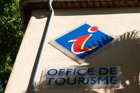 office de tourisme logo sign means information center in french for tourist Editorial