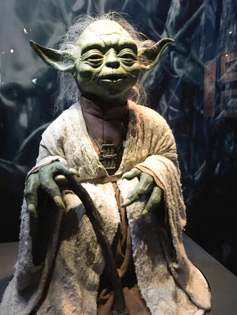 Bruxelles / Belgium - 08 21 2018 : Star Wars Identities Exhibition yoda with authentic costume StarWars Editorial