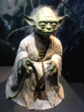Bruxelles / Belgium - 08 21 2018 : yoda in authentic costume star wars identities exhibition