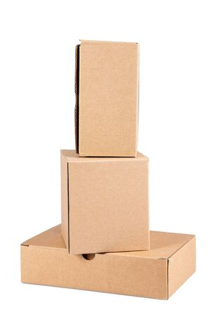 three cardboard box brown on white background Stock Photo