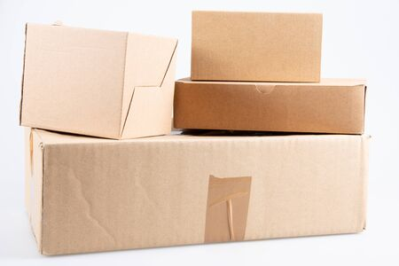 used cardboard boxes on white background