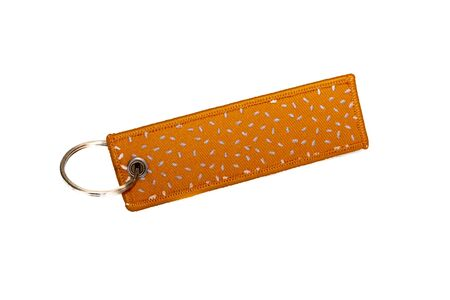Key chain made of leather fabric keyring in White Isolated Background