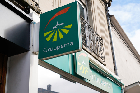 Bordeaux , Aquitaine  France - 11 13 2019 : Groupama logo office sign store french insurance agency shop