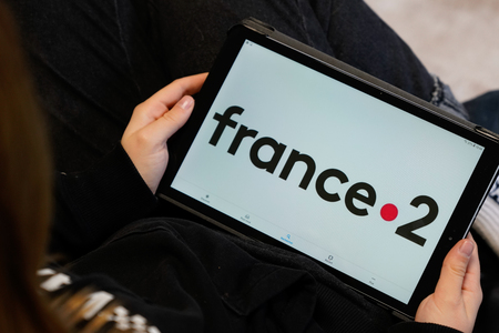 Bordeaux , Aquitaine / France - 11 25 2019 : France 2 logo sign screen tablet of french public service broadcaster tv france channel