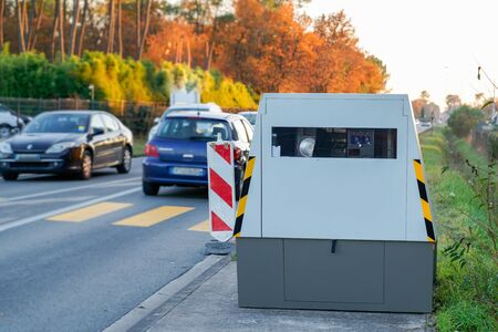 Radar automatic speed control camera on the road tool of police for control road traffic Stock Photo