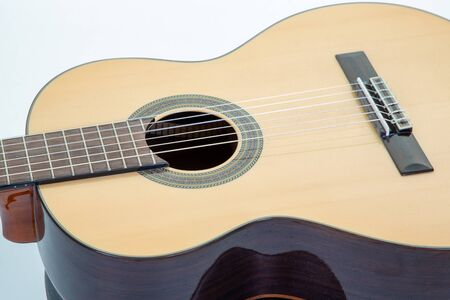 Close up of wooden acoustic guitar Stok Fotoğraf