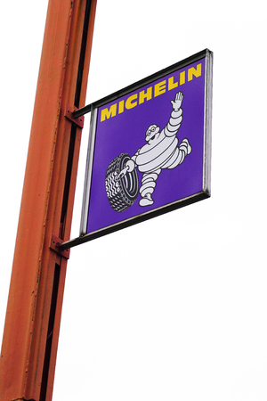 Bordeaux , Aquitaine / France - 10 02 2019 : michelin sign logo on a pole manufacturer and distributor of motorcycle and truck car tires worldwide Redactioneel