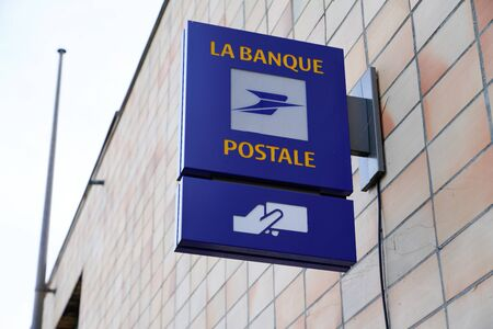 Bordeaux , Aquitaine / France - 12 28 2019 : la poste Banque postale shop french post logo bank on office store sign wall