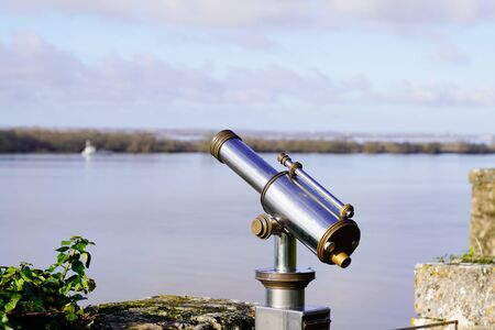 Tourist Viewer Binoculars telescope in blaye citadel Gironde France Banque d'images