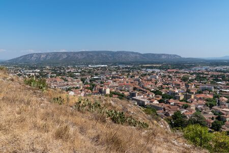 aerial top view of city Cavaillon south of France