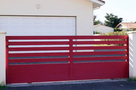 red design metal aluminum gate of modern house