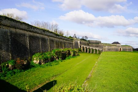 large view Citadel medieval bridge ancient in Blaye town france
