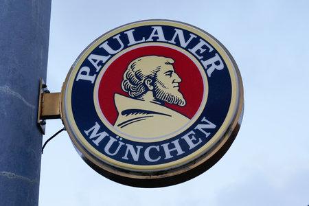 Bordeaux , Aquitaine / France - 01 24 2020 : Paulaner Beer logo sign front of Munich munchen