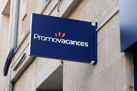 Bordeaux , Aquitaine / France - 01 24 2020 : Promovacances logo sign office store French travel agency shop 報道画像