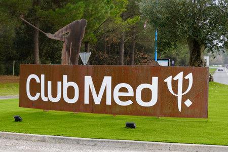 La Palmyre , Les Mathes , Aquitaine / France - 02 15 2020 : Club Med sign logo entrance club Méditerranée all-inclusive holidays in La Palmyre Les Mathes Aquitaine France
