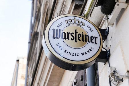 Bordeaux , Aquitaine / France - 01 15 2020 : warsteiner beer sign logo on restaurant bar wall building