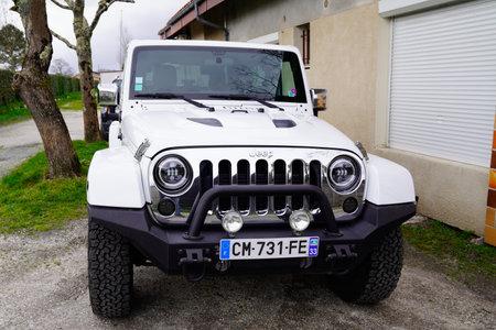 Bordeaux , Aquitaine / France - 02 21 2020 : New Jeep Wrangler Sahara Edition 4x4 car model all road