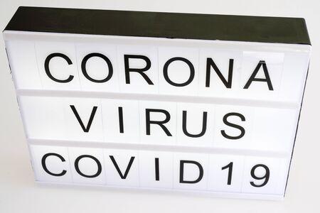 lightbox with text COVID-19 coronavirus 2019-nCoV virus