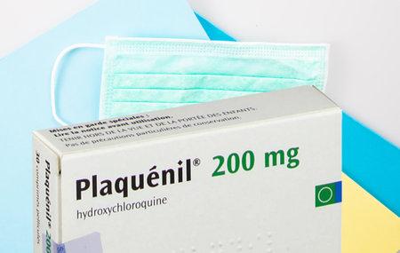 Bordeaux , Aquitaine / France - 03 30 2020 : plaquenil 200 mg Hydroxychloroquine Chloroquine Pills box Generic treatment coronavirus COVID-19