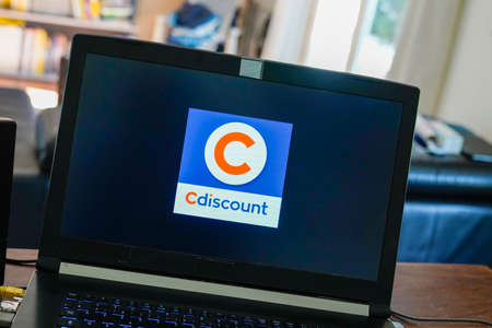 Bordeaux , Aquitaine / France - 03 30 2020 : Cdiscount logo sign on laptop computer screen high-tech leisure fashion and food open marketplace Editorial