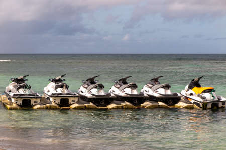 Lacanau , Aquitaine / France - 03 03 2020 : yamaha jet skis rental parked on pier floating rent watercraft pontoon