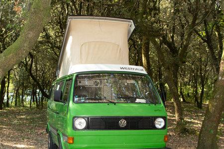 Bordeaux , Aquitaine / France - 11 18 2019 : volkswagen camper motorhome van fourgon combi camper vintage westfalia joker Editorial
