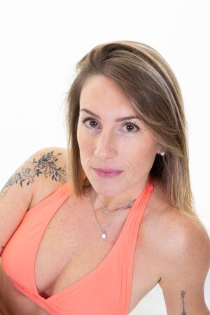 cheerful beautiful woman tatoo in swimwear fashion girl trendy