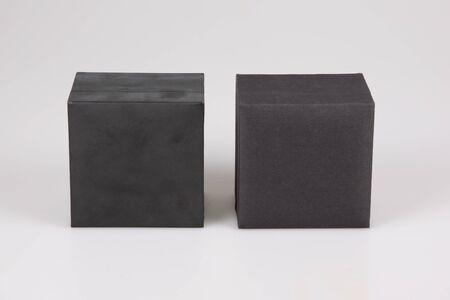 two different black blank hard cardboard box mockup for branding presentation mock up template Stock Photo