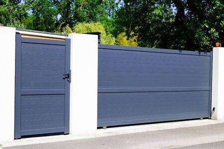 Aluminum home green grey gate portal of suburb door house