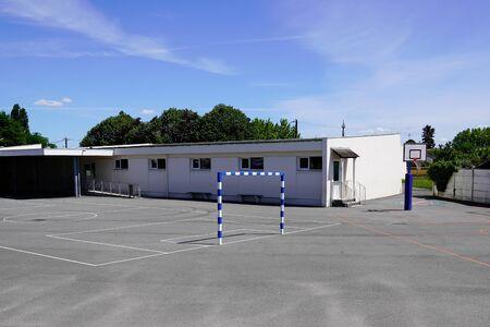 Preschool children kids building exterior with playground sport education concept