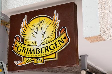 Bordeaux , Aquitaine / France - 05 12 2020 : Grimbergen Belgian abbey beers sign green logo bar brand restaurant pub Redactioneel