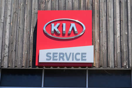 Bordeaux , Aquitaine / France - 06 20 2020 : Kia service dealership car logo sign store of South Korea automobile manufacturer