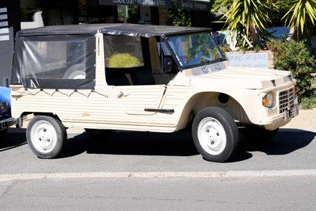 Bordeaux , Aquitaine / France - 06 14 2020 : Citroen Mehari car beige old vintage beach convertible vehicle