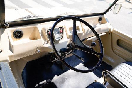 Bordeaux , Aquitaine / France - 06 14 2020 : Citroen Mehari interior of beach car with steering wheel and dashboard retro vintage Redactioneel