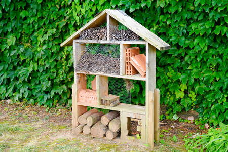 insect house homemade in house garden gives protection and nest aid to bees and insects