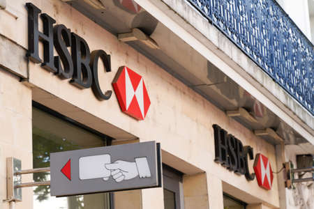 Bordeaux, Aquitaine / France - 07 25 2020: HSBC bank logo swiss red sign store banking of financial services office