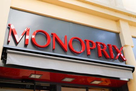 Bordeaux, Aquitaine / France - 07 25 2020: Monoprix logo sign and text on shop supermarket store retail in france Éditoriale